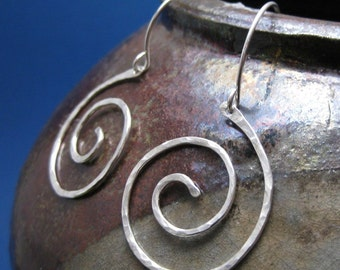 Silver Spiral Earrings, Hammered Silver Dangle Earrings