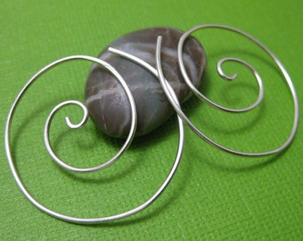 Sterling Silver Spiral Hoops- Thread Through Earrings