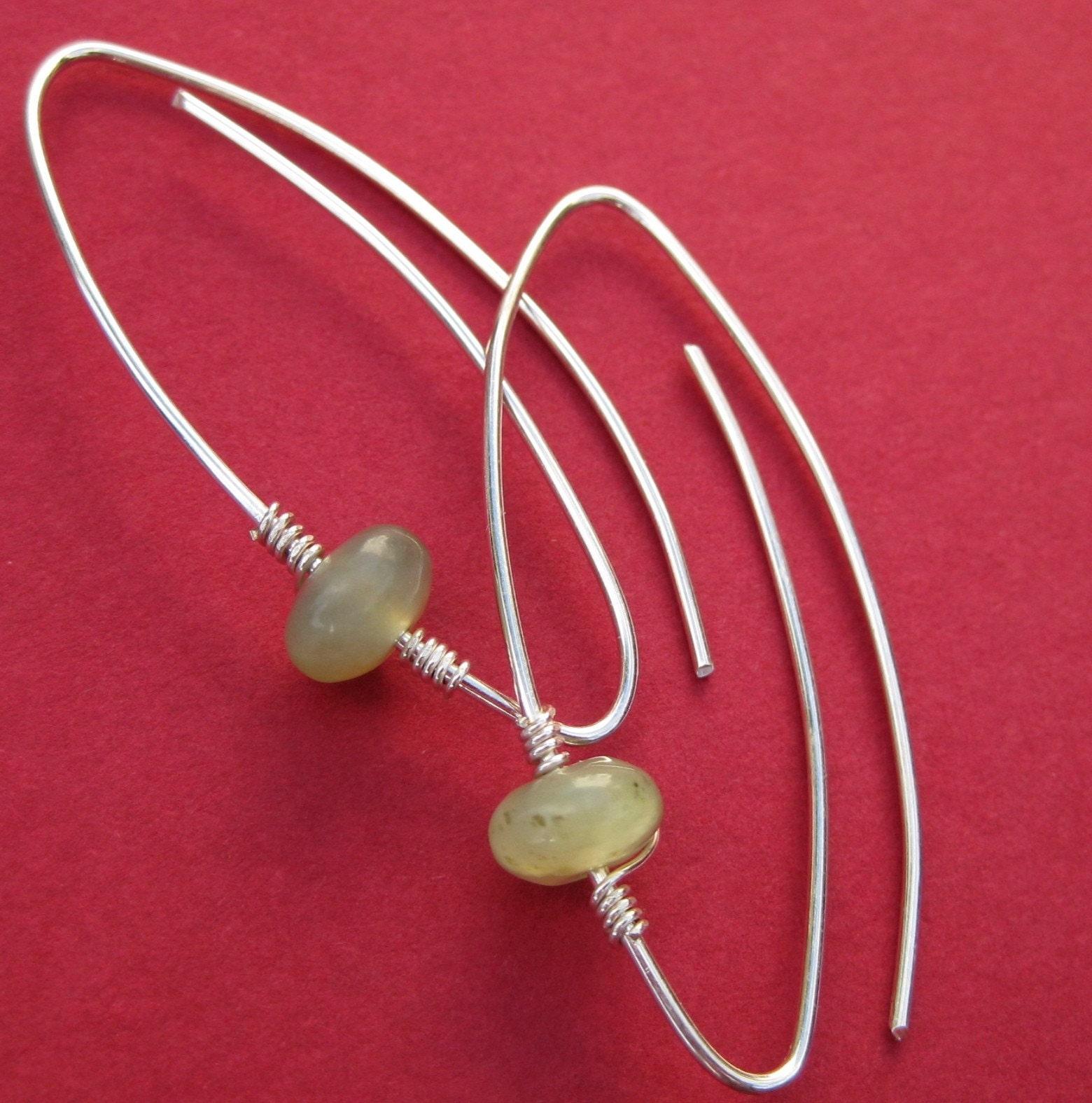 Silhouette Earrings: Jade And Silver Spiral Leaf Silhouette Earrings Free