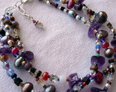 Bejeweled A 3 Strand Multi Colored Jewel Toned Boho Gypsy Surfer Chic Eclectic Bracelet