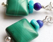 Malachite Lapis and Sleeping Beauty Turquoise Earrings