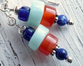 Plein Air Peruvian Opal, Lapis, Trade Bead and Carnelian Sterling Silver Earrings