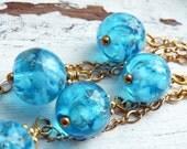 AZURE Venetian Glass White Swirl Gold Leaf OOAK Bohemian Gypsy Trio Dangle Earrings