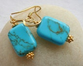 Handcrafted Artisan Copper Laced Turquoise Gold Vermeil Southwestern Cowgirl Boho Hippie Minimalist Earrings
