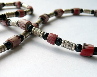 Handcrafted Unisex  RARE African Trade Bead Blue Goldstone Fine Etched Silver Sterling Silver Southwestern Tribal OOAK Unisex Necklace