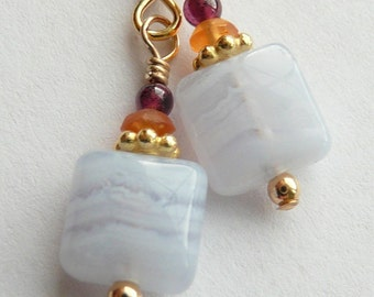 Tiny Flower -Blue Lace Agate, Sapphire and Garnet Earrings