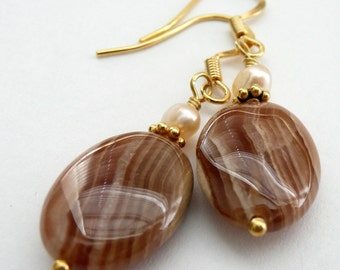 Mocha Latte Jasper Fresh Water Pearl Gold Vermeil Earrings