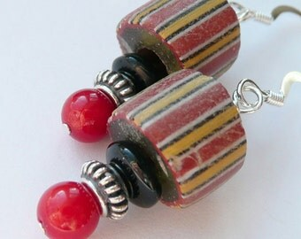 Vintage African Trade Beads Black Onyx Red Coral Sterling Silver OOAK Unisex Artisan Boho Primitive Tribal Rustic Organic Earrings