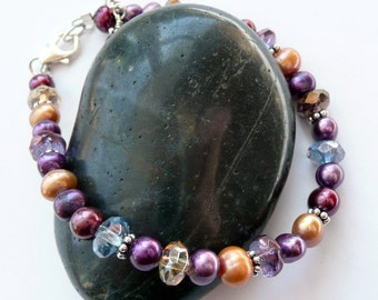 Purple Copper Cranberry Red Fresh Water Pearl Multi Colored Czech Glass Bead Sterling Silver OOAK Boho Hippie Festival Gift for Her Bracelet