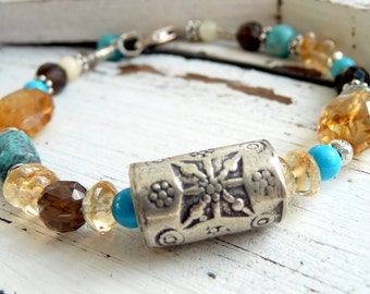 Handcrafted Artisan Southwestern Sun Flower Turquoise Citrine Smokey Quartz Sterling Silver OOAK Gemstone Boho  Bracelet