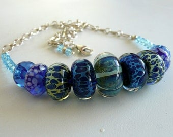 Artisan Multi Blues Borosilicate Lampwork Glass Swaroski Crystal Sterling Silver OOAK Boho Beach Gift for Her Statement Choker Necklace