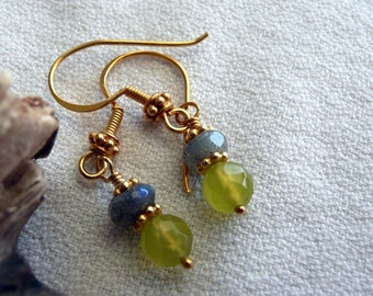 Handcrafted Artisan OOAK Labradorite Olive Yellow Korean Jade Gold Vermeil Hand Wire Wrapped Bohemian Sparkly Dangle Earrings