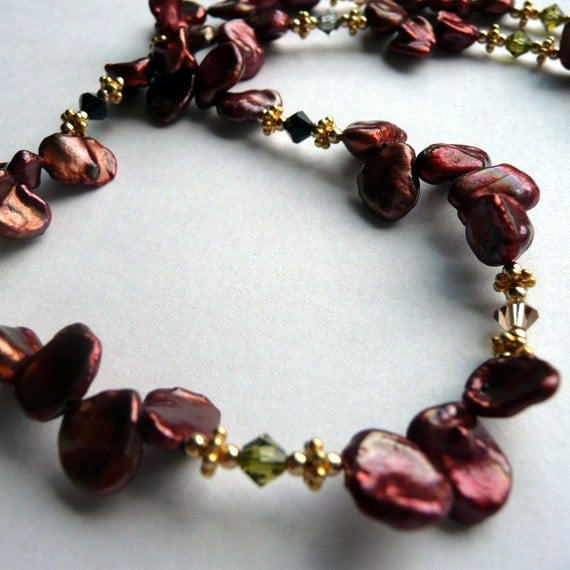 Artisan Handcrafted OOAK Brown Bronze Copper Keshi Pearl  Fall Colored Swarovski Crystal Gold Vermeil Bohemian Chic Necklace