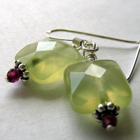 Faceted Prehnite and Pink Garnet Earrings