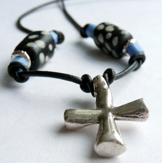 Unisex Pirate Black Sails Wiccan Rock n Roll Goth Punk Artisan Sterling Silver Cross Pendant Rare Ghost African Trade Beads OOAK Necklace