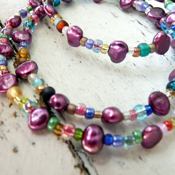 RESERVED for ELLIE Jamboree An Eclectic Mix of Fresh Water Pearls,Czech Glass and Bohemian Seed Bead Necklace