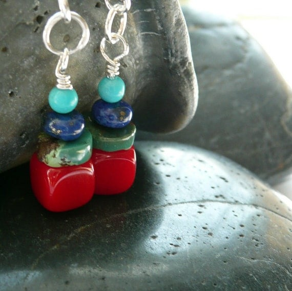 Totem A Coral Cube, Turquoise, Lapis, Sterling Silver Earrings