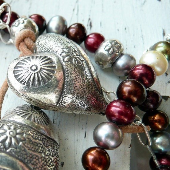 Handcrafted Rustic Fine Silver Artisan Hearts Duet Marsala Autumn Hued Fresh Water Pearl Sterling Silver OOAK Leather Necklace