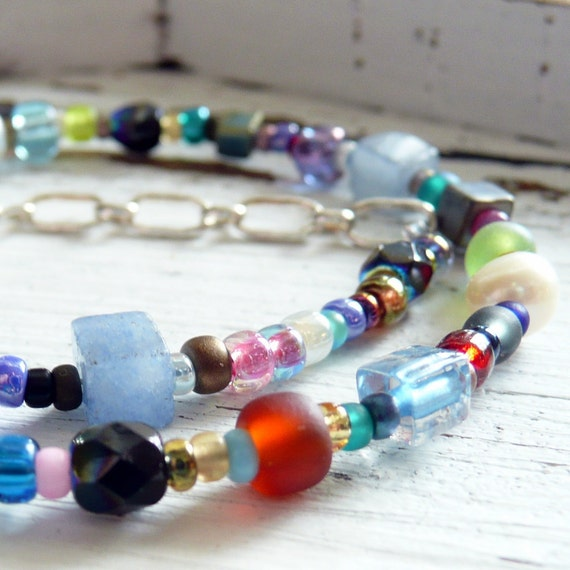 Gypsy Bohemian Sky Blue Quartz Fresh Water Pearl Eclectic Glass Bead Sterling Silver Anklet