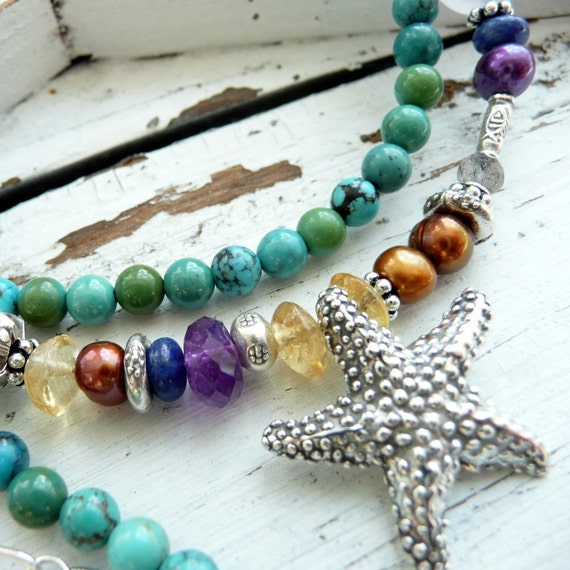 Cyprus A Turquoise Gemstone Mix Sterling Starfish Summer Beach Necklace