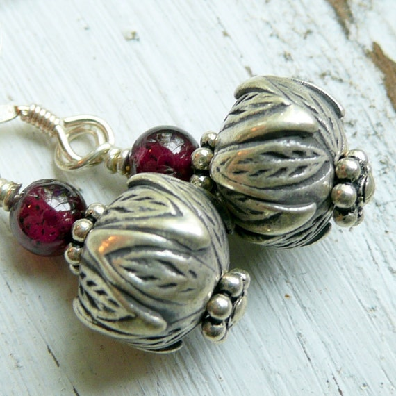 Nut and Berry KHT Fine Silver Nut Charm and Garnet Bohemian Gypsy Earrings