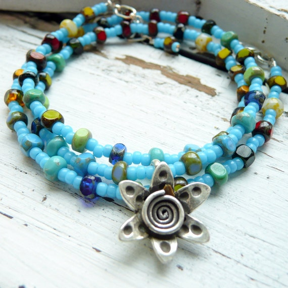Indian Summer Turquoise Seed Bead Multi Colored Czech Glass Karen Hill Flower Necklace