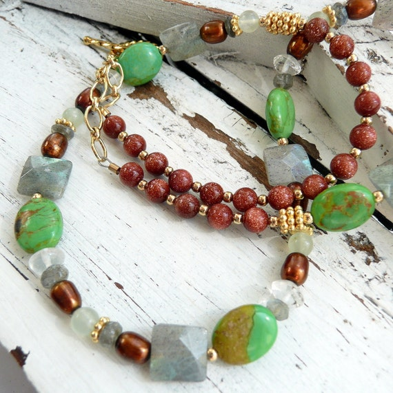 Green Mohave Turquoise Brown Goldstone Labradorite Pearl Jade Moonstone 14kt Gold Atisan OOAK Boho Hippie Gift for Her Spring Necklace