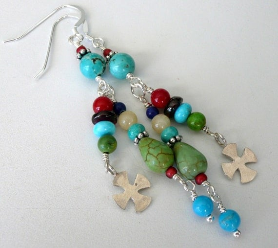 Southwestern Gemstone Sterling Silver OOAK Tribal Gypsy Bohemian Long Dangle Earrings