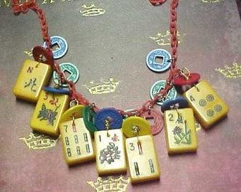 Bakelite mah jong necklace Jan Carlin Original Tiles will Vary