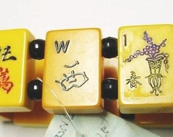 signed jan carlin designer vintage bakelite mah jong game tile size large