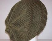 Wool Knit Ski Hat/Beanie - Moss Green Heather