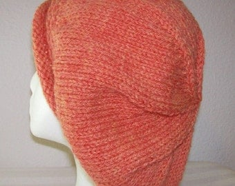 Rolled Brim Wool Tam - Slouchy Knit Beret - Knitted Dreadlock Tam - Salmon Heather