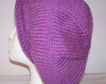 Rolled Brim Wool Tam - Slouchy Knit Beret - Knitted Dreadlock Tam - Aster Heather