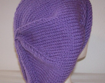 Rolled Brim Wool Tam - Slouchy Knit Beret - Knitted Dreadlock Tam - Wisteria