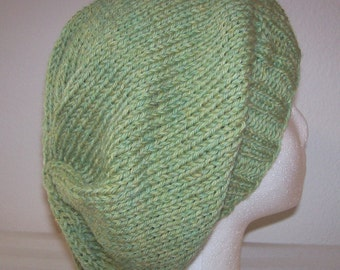 Wool Slouch Hat - Slouchy Knit Beanie - Knitted Dreadlock Beanie - Light Celery Heather