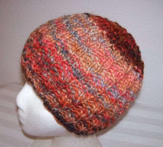 "HANDSPUN Wool Beanie - ""Hand Spun"" Knit Hat - Knitted Wool Cloche - Variegated Brown/Coral - OOAK"