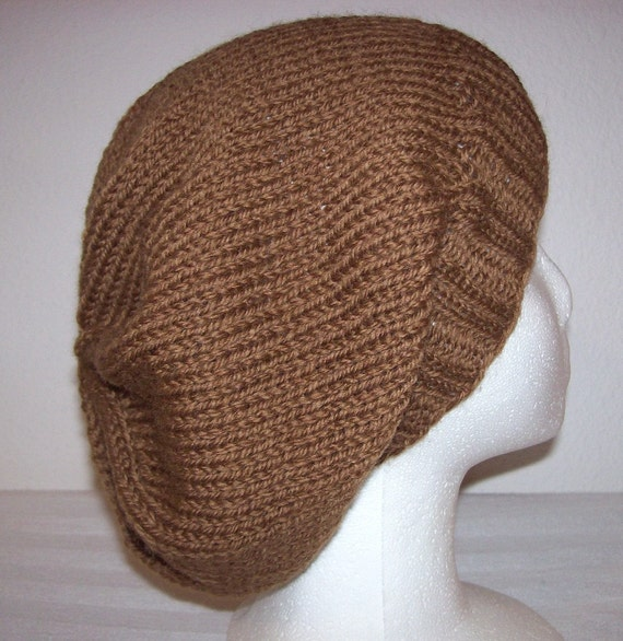 Wool Knit Slouch Hat/Beanie - Teddy Bear Brown