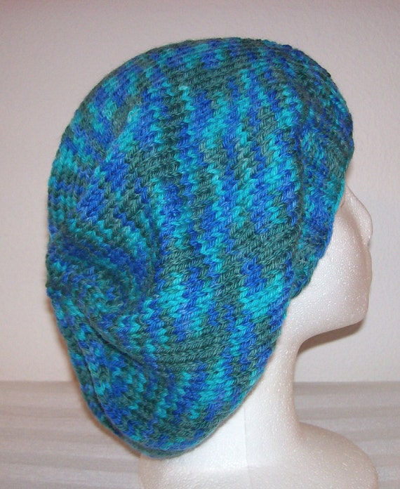 Wool Slouch Hat - Slouchy Knit Beanie - Knitted Dreadlock Beanie - Variegated Blue/Green/Turquoise - OOAK
