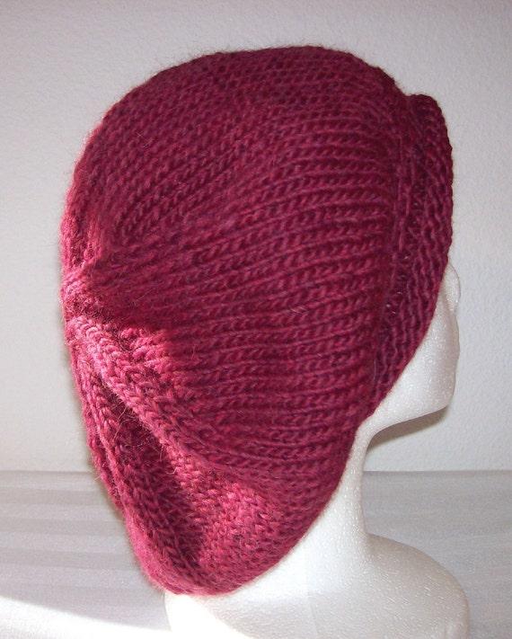 Rolled Brim Wool Tam - Slouchy Knit Beret - Knitted Dreadlock Tam - Burgundy Heather