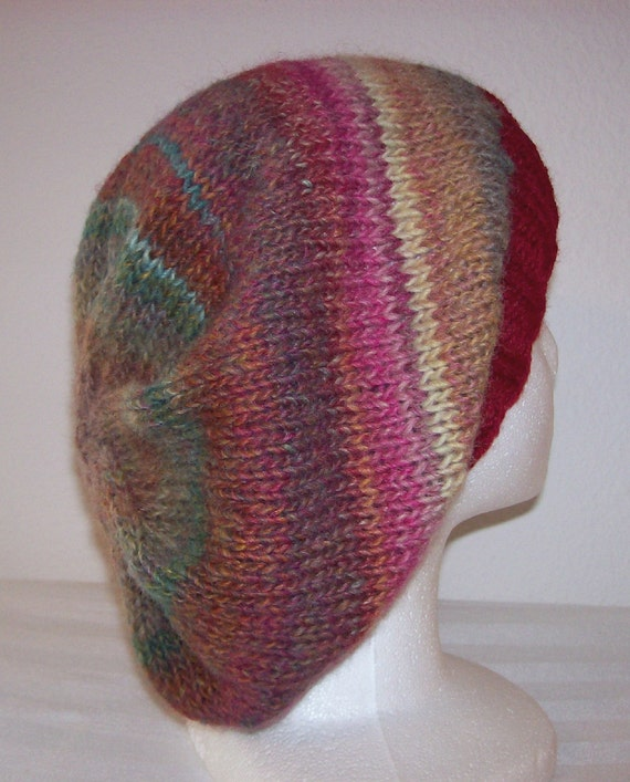 Wool/Acrylic Knit Slouch Hat/Beanie - Strawberry Fields