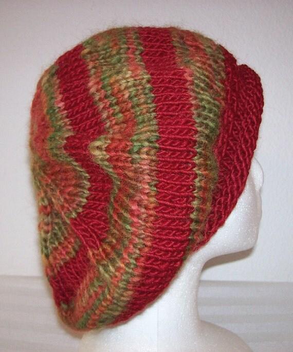 "Rolled Brim ""Handspun"" Wool &  Wool/Mohair Striped Knit Tam/Beret - OOAK"
