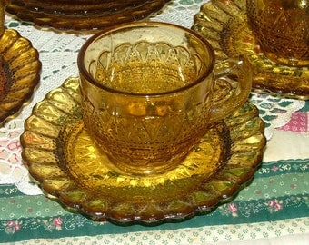 Kemple Wheaton Lace and Dewdrop Amber Cups and Saucers
