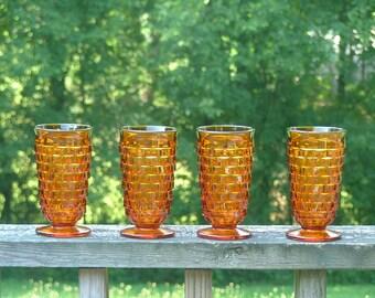 Vintage Dark Amber Indiana Whitehall Glasses Set of 4