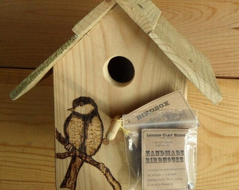 Great Tit Birdbox made from reclaimed timber with pyrography design