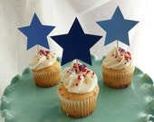 Star Cupcake Toppers, Party Picks, Food Picks Shades of Blue