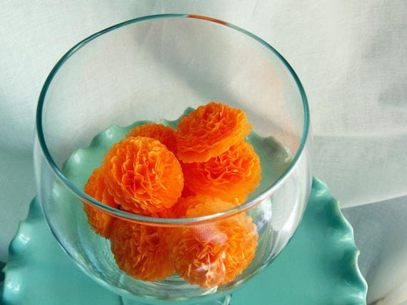 Button Mums Tissue Paper Flowers Apricot Wedding, Bridal Shower, Baby Shower Decor