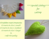 SPECIAL LISTING for Lattrop - 30 Rainbow Heart Ornaments - Felt