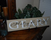 Family Name Sign - First and Last Names w/Date Overlay - Tan, White & Black - Customize your names, date, or colors!