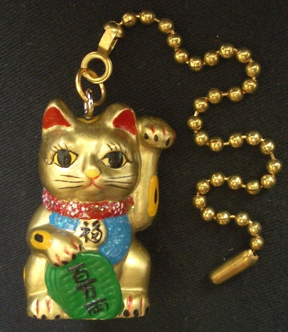 Lucky Waving Asian Cat Ceiling Fan Pull Chain Gold Retro Home