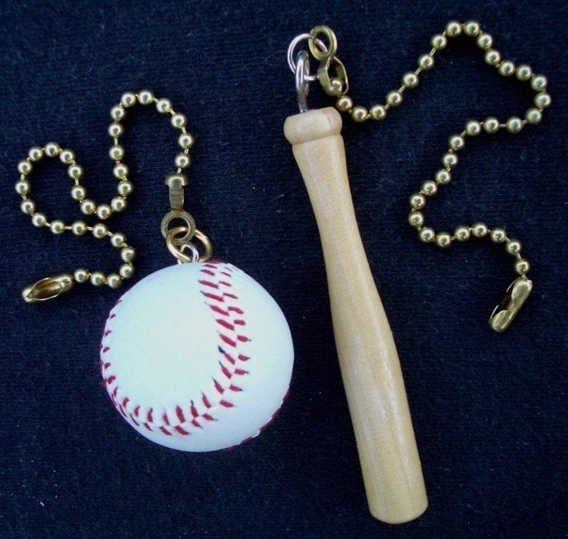 Fan Pulls Mini Baseball And Wood Baseball Bat Ceiling Fan Pull